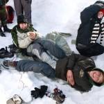 ... a spolu s Ondrou vymýšleli jak ohřát promrzlé nohy